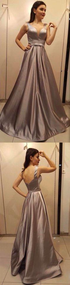 Dark Champagne Long Satin V-neck Prom Dresses 2018 Elegant Evening Gowns M2667