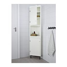 HEMNES Corner cabinet IKEA Adjustable feet for increased stability and protection against wet floors. A good solution where space is limited. Bathroom Corner Cabinet, Bathroom Cabinets, Bathroom Furniture, Small Corner Cabinet, Corner Linen Cabinet, Ikea Bathroom Storage, Corner Shelf, Bathroom Vanities, Wooden Furniture