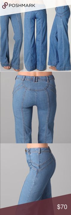 "Free People super 70's flare wide leg jeans 28 This is a pair of Free People super 70's flare jeans. They are size 28.  These wide-leg jeans feature slant hip pockets and a single-button closure. Seam details at front and back. Worn edges. 24"" leg opening.  * Fabrication: Super-stretch denim. * 73% cotton/25% polyester/2% spandex. * Wash cold. * Waist 29"" rise 9"" inseam 32"". Mint condition. Free People Jeans Flare & Wide Leg"