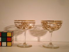 French St. Louis Champagne crystal Saucers glasses