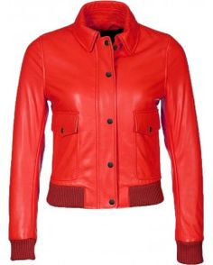 Scrumptious Bomber Red Leather Jacket