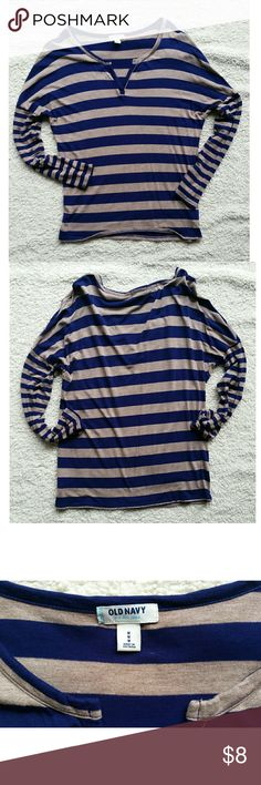 Old Navy Long Sleeve Shirt Old Navy Batwing long sleeve shirt. V neck with tan and navy stripes. Old Navy Tops Tees - Long Sleeve