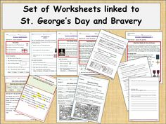 Set of 7 Worksheet activities linked to St George's Day and Bravery
