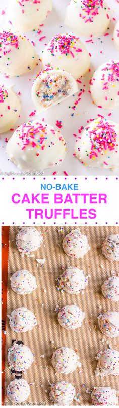 No-Bake Cake Batter Truffles - Perfect dessert for the summer months when it's too hot to turn on the oven or as a super easy treat to bring to a party.