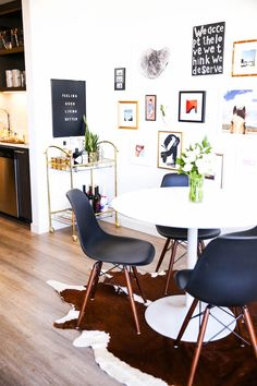 black eames chairs || white tulip table || Cait Weingartner's Home Tour