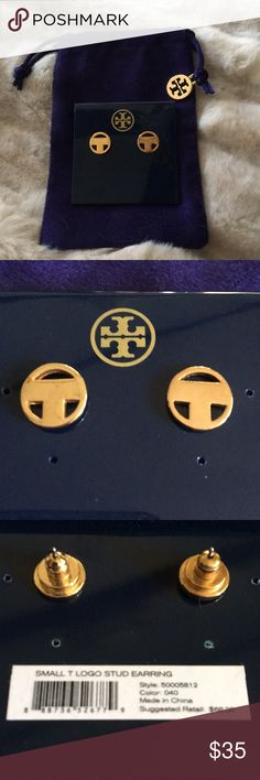 Small T Logo Stud Earrings New with tags. Comes with dustbag. Tory Burch Jewelry Earrings