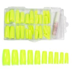 Colored French Nail Tips with Tip Box and Glue (100pcs) - Sharp Yellow CODE: No.442E ** You can find out more details at the link of the image.