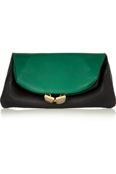 Marni ~ Two-tone leather fold-over clutch