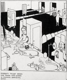 1943 How to Run a Communal Home Heath Robinson, When Im Bored, Vintage Artwork, Funny Comics, Original Artwork, Design Art, The Originals, Dressing Room, 19th Century