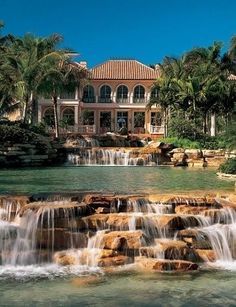 Architecture by Kasimir Korybut Meditranian style home with cascading man made pond. Architecture by Kasimir Korybut Meditranian style home with cascading man made pond. Mansion Homes, Dream Mansion, Mediterranean Style Homes, Dream Pools, Big Houses, Cool Pools, House Goals, Life Goals, My Dream Home