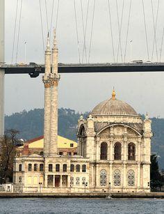 Ortakoy Mosque under the Bosphorus Bridge, Istanbuel.