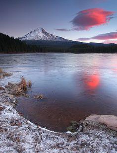 Trillium Lake - Half Frozen