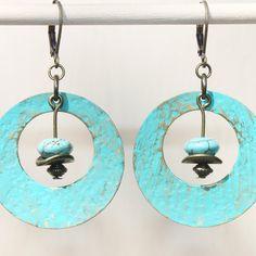 Turquoise Blue Earrings Patina Earrings Boho Earrings Bohemian Earrings Dangle Hoop Hammered Brass Metal Earrings Urban Earrings Jewelry
