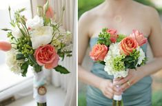 coral sage green ivory wedding colors romantic spring wedding flowers bridal bouquet