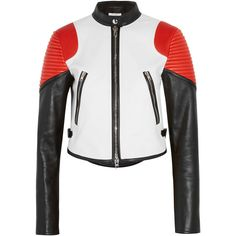 Givenchy Cropped color-block leather biker jacket (18.035 RON) found on Polyvore featuring women's fashion, outerwear, jackets, quilted moto jacket, motorcycle jacket, slim leather jacket, leather motorcycle jacket and white jacket