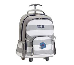Rolling Backpack, Fairfax Gray/ White Stripe, Football Helmet