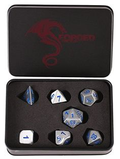 Forged Dice Co Metal Battle Steel Silver with Blue Numbers Set of 7 Polyhedral Dice for RPG Gaming Games with Dragon Logo Tin Case * Continue to the product at the image link.Note:It is affiliate link to Amazon. #bestfriend