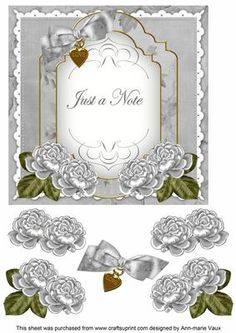 Silver Rose Just a Note Fancy 7in Decoupage Topper on Craftsuprint - Add To Basket!