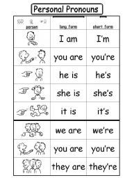 English worksheet: Personal Pronouns + to be 2/2
