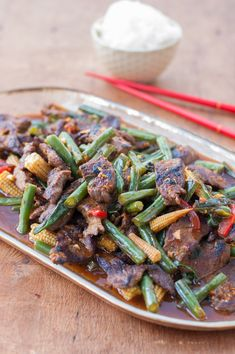 Tangerine Beef Stir Fry with green beans, baby corn, and sweet red peppers