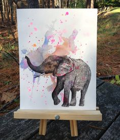 Elephant Animal Watercolor Painting - Original Watercolor Painting Great Baby Nursery Wall Art. $40.00, via Etsy.