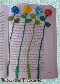 Ring Around the Rosy Bookmark - free crochet pattern at Rebeckah's Treasures.