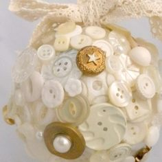 white, gold and ivory button flower girl ball