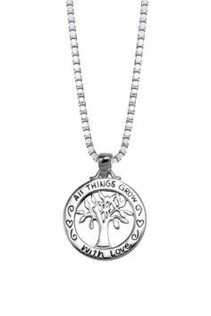 """Sterling Silver """"All Things Grow with Love"""" Reversible Family Tree Pendant Necklace, 18"""" Amazon Curated Collection. $29.00. Made in Thailand"""