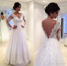 Discount Brazilian Style Vestidos De Novia V Neck Lace Sheer Plus Size Backless A Line Tulle Wedding Dresses Full Long Sleeves Winter Bridal Gowns The Knot Wedding Dresses Tidebuy Wedding Dresses From Tbnabridal05, $150.76| Dhgate.Com