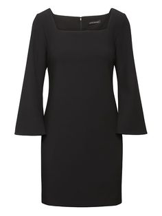 Square-Neck Shift Dress  great style; I'd love this in a solid color