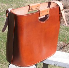 Hand Made Leather Tote Bag with Shoulder by SuperiorLeathercraft, $290.00