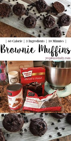 60 Calorie, 3 Ingredients Brownie Bites – Yes, Please Guilt free heaven! The best muffins I've ever had! You would never know they're under 100 calories! SUPER easy to make too, only 3 ingredients if you're feeling lazy! 100 Calorie Snacks, Low Calorie Desserts, High Protein Snacks, No Calorie Foods, Low Calorie Recipes, Low Calorie Muffins, 100 Calorie Breakfast, Low Calorie Brownies, Lo Cal Desserts