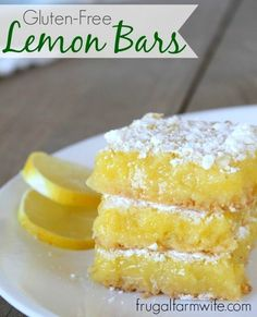 This gluten-free lemon bars recipe is not only delightfully lemony, it's easy! Oh my word, something this delicious should NOT be so easy to make! Gluten Free Lemon Bar Recipe, Gluten Free Bars, Gluten Free Sweets, Gluten Free Cookies, Dairy Free Recipes, Paleo Lemon Bars, Eating Gluten Free, Gluten Free Deserts Easy, Dairy Free Lemon Bars