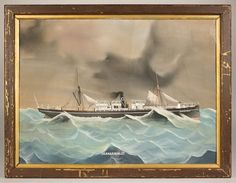 Folk art ship portrait, Pendarvers / Pendavers ~ I once had a Folk art painting of a ship (not a bonafide portrait, but a religious themed picture painted for a pastor's birthday by one of the congregation) -- and it was quite charming, imo.