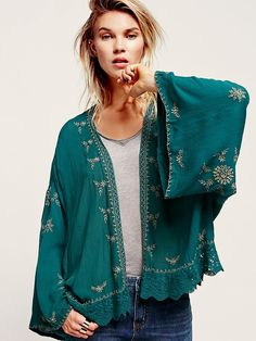 Free People Embroidered Kimono Jacket at Free People Clothing Boutique