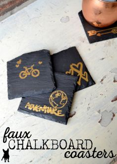 These faux chalkboard DIY coasters can be easily personalized with the rub-ons of your choice. Add Mod Podge to seal and you're done!
