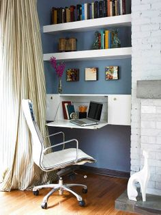 Hang a kitchen cabinet horizontally and attach piano hinges to the door so it opens to become a mini desk.