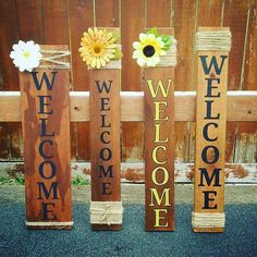 Front porch welcome signs. DIY home decor from reclaimed and pallet wood. Simpl… Front porch welcome signs. DIY home decor Welcome Signs Front Door, Wooden Welcome Signs, Diy Wood Signs, Barn Wood Signs, Wood Pallet Signs, Outdoor Wood Signs, Fall Pallet Signs, Fence Signs, Wood Signs For Home
