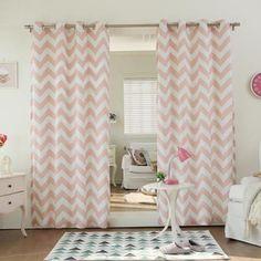 Velvet Chevron Print Grommet Top 84-inch Curtain Panel Pair Pink
