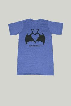 Save the Bats Tee Shirt in Blue-Adult Size | Organization for Bat Conservation