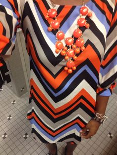 Outfit of the day 8/14/14  Bauble necklace from JC Penney, chevron dress from Mandee