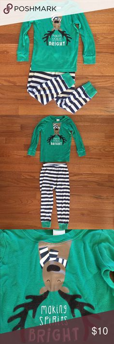 """Gymboree Holiday PJ's - Sz 3T Gymboree 2-Piece Holiday PJ's - Size 3T.  Long sleeve & pants, 100% cotton.  1 green shirt with upside down reindeer & """"Making spirits bright"""" print on front (soft felt-like antlers!);  1 pair of blue/white striped pants with green cuffs.  Gently used- fabric shows some wear (see pictures included). Gymboree Pajamas"""