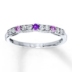 Amethyst Ring Lab-Created Sapphires Sterling Silver. Somebody tell my hubby i want this!