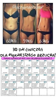 30 dni ćwiczeń dla piękniejszego brzucha... Weight Gain, Weight Loss, Healthy Nutrition, Workout Challenge, Fitness Fashion, Fitness Inspiration, Exercises, Life Hacks, Challenges