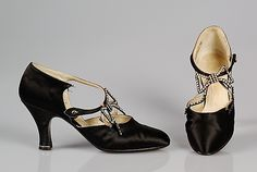 Silk Evening Shoes by ANDRE PERUGIA, French, ca. 1925, Made of Metal, Rhinestones and Silk