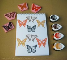 Carving stamps butterfly Stamp Carving, My Stamp, Stamps, Butterfly, Crafts, Seals, Manualidades, Stamping, Butterflies