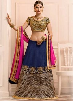 Pink Navy Blue Embroidery Work Banglori Silk Georgette Designer Lehenga Choli http://www.angelnx.com/Lehenga-Choli/Wedding-Lehenga-Choli