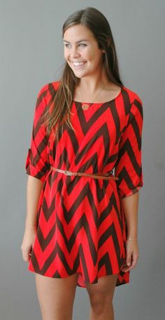 sweetasahoneybeehive:    sororitysugar:    game day chevron  ;)    Is this dress… maroon and orange??! If it is I want it.    ^^^