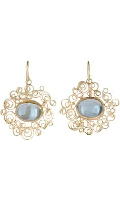 Judy Geib Aquamarine Spirally Earrings