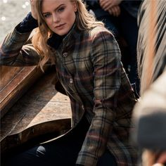 Women's Linsford coat in multicoloured checked Donegal Tweed.